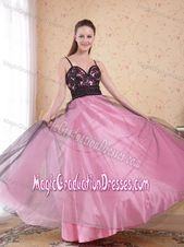 Rose Pink Full-length College Graduation Dresses with Straps and Appliques   – 2…