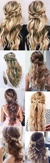 13 chic halb hoch halb runter Hochzeit Frisuren für langes Haar – Madame Friisuren