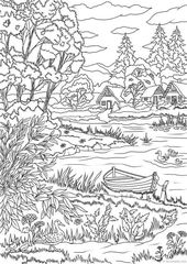 Lake View – Printable Grownup Coloring Web page from Favoreads (Coloring ebook pages for adults and youngsters, Coloring sheets, Coloring designs)