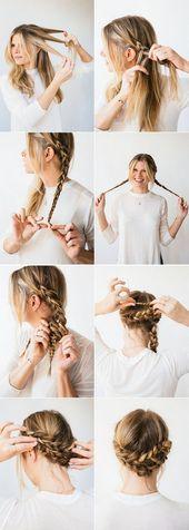 Einfache Haarhochsteckfrisuren für jeden Tag #flechtfrisuren #schule #pferdesch… – diy