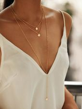 Layered necklace set with round pendants