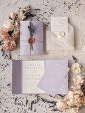 Invitations  Elegant Wedding invitations romantic floral lavender stationery