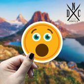 Open Mouth Emoji Vinyl Sticker, Emoticon, Laptop Decals, Stickers, Macbook Decal, Stickers Macbook P