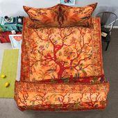 Orangenbaum des Lebens Bettwäsche Set indische handgemachte Bettbezug Set Queen-Size-Bettbezug mit Queen-Bettdecke Bettbezug   – Sweet Dream Homes