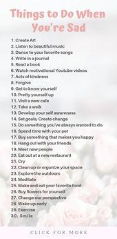 34 Dinge, die Sie tun sollten, wenn Sie traurig sind – Tipps zur Selbstpflege – My style