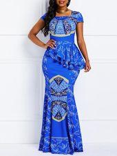 Cap Sleeve Falbala Floor-Length Mermaid Casual Dress