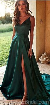 Emerald Green Side Slit Lange Abendkleider, Günstige Custom Party Prom Dresses, 18580