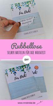 Mach selbst Rubbellose für die Hochzeit   – Geschenkideen und Geschenkverpackungen