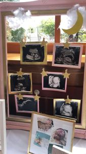 Twinkle twinkle little star baby shower welcome table with framed ultrasound pho…