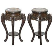 Pair Of 1stdibs Planters / Jardinieres – Dragon Carved Stands Distressed Chinese Chinese Export Wood