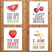 Obst Themen Kindergarten Drucke. Sie sind einer in einer Melone, ich liebe dich Kirsche viel, ich l … – Das Beste Design