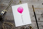 Birthday Card, Pink Balloon, Birthday, Card Birthday, Handmade Birthday Card, Greeting Card
