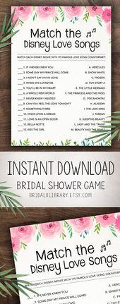 Disney Love Songs, Printable Bridal Shower Game, Instant Download, Bachelorette Party Digital Download, Pink Flowers Bridal Shower Games