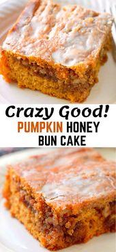 Pumpkin Honey Bun Cake, eine einfache Torte, die eine Box-Cake-Mischung verwendet und …