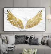 Luxurious Golden Wings On Marble Background Wall Art Fine Art Canvas Prints Glamorous Pictures For Living Room Bedroom Home Decor  – arts – Kunst – Malen – Foto – photos