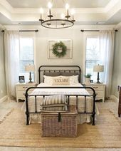 57 Amazing Farmhouse Master Bedroom Decor Ideas #FarmhouseMasterBedroom