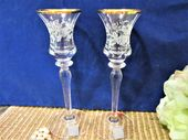 Crystal Candle Holders Mikasa Antique Lace Set of 2 Gold Trim Vintage blm