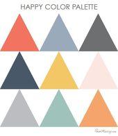 Happy color palette – gray coral navy gold orange dusty blue rose