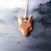 Handcarved wooden wolf pendant necklace · birthday gift · wold necklace · wood pendant · wood necklace · wood jewelry · bushcraft necklace