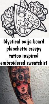 Mystical ouija board planchette creepy tattoo inspired embroidered sweatshirt hand made sizes xs- 23