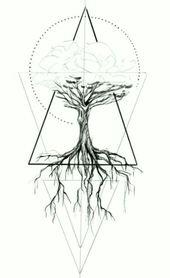 Geometrische Tätowierung – Baum, geometrisch – Like