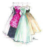 Dresses, Kleider, Haljine, Painting, Zeichnung, Crtanje » art » drawing » inspiration » illustration » artsy » sketch