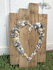 Shell Heart Sign- Beach Sign- Shell Art- Beach Wedding Sign- Anniversary Gift- Beach House- Wedding Guest Book   – deko