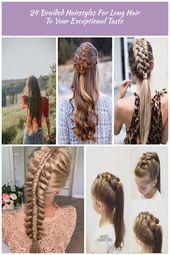 langes braunes welliges Haar || halb oben halb unten geflochtene Frisur geflochtene Frisur