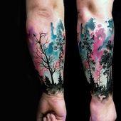 70 Aquarell Baum Tattoo Designs für Männer – Manly Nature Ink Ideen – Mann Stil   Tattoo