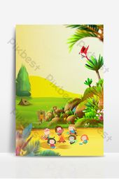 Happy kids playing in the wild,advertising design background image | Backgrounds PSD Free Download – Pikbest