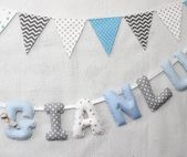 Nursery letters, Baby Name Fabric Letters, Blue,Gray, Personalized, Christening Banner, Baby Shower – Products