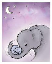 Baby Ilustration Wand Kunst Goodnight Elefanten Kindergarten lila von GrubbyPrincess