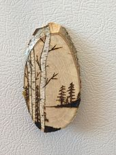 Rustic Landscape Wood Burned Magnet/Ornament