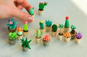 art sculpture crafts cactus polymer clay succulent…