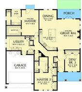 One-Story House Plan with Two Master Suites