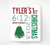 Baby's First Christmas Decoration, Personalized Baby Footprint Christmas Tre… – Babies first Christmas