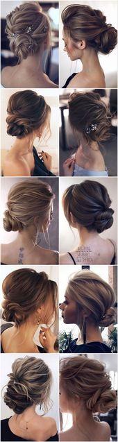 10 chignon populaire & simple cheveux bouclés chignon bas longueur moyenne #wed