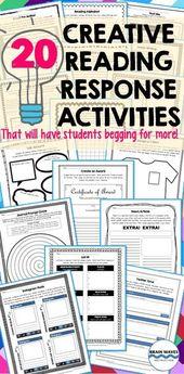 Reading Response Activities – 20 Creative Reading Response Sheets