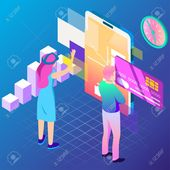 Virtual, augment reality concept. Futuristic vector illustration for banners, advertising. Cyberspace technology abstract background Illustration , #A…
