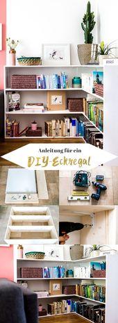 DIY + construction manual for a corner shelf