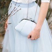 Tullekjol, kort i blått för bröllopet – Zoe