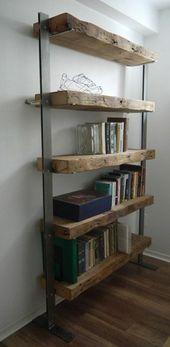 DIY Bookshelf rustikale Bücherregale mit Elementen aus Metall