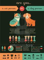 Katzen- und Hundeinfografiken mit den Vektorikonen eingestellt