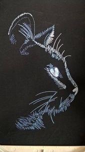 Black CAT Machine Embroidery Design 5×7 in INSTANT DOWNLOAD Pet Cat Embroidery Animal Embroidery Digital Cat Face Pattern Machine designs – Broderie