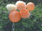 PEACHES & CREAM / 3 Tissue Paper Pom Poms/2 Paper Lanterns // wedding decorations / birthday decorations / bridal shower / paper flowers