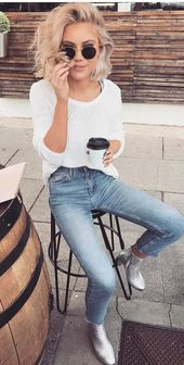 street style addict white top jeans – Hair