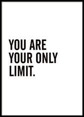 Poster mit dem Text Du bist deine einzige Grenze. Inspirierendes und motivierendes Zi … – Poster, kunstdrucke