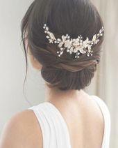 Shop wedding back combs to accent your bridal hairstyle. Bridal hair comb features nature inspired design with hand wired flowers and leaves accented ...