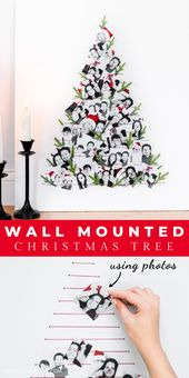 DIY Wall Mounted Christmas Tree Made From Family Photos!