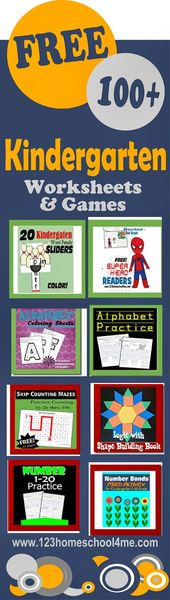 100+ FREE Kindergarten Worksheets, Actions, and Video games